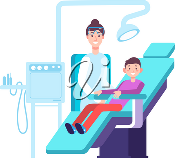 Dentist and kid patient. Doctor exams childs teeth in dental office. Dentistry, oral hygiene and stomatology vector concept. Kids dental, patient and doctor, specialist healthcare teeth illustration