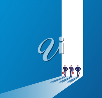 Businessmen at open door. Future path, new journey and successful ideas. Business unknown opportunities vector concept. Illustration of door future path, way to gate