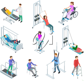 Physiotherapy rehabilitation equipment. Patients and nursing staff in rehabilitation centre clinic. Isometric vector set. Rehabilitation equipment for patient care physiotherapy illustration