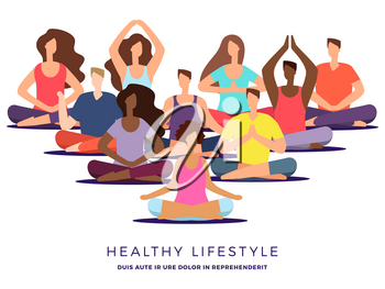 Yoga or pilates class vector illustration. Meditation woman and man. Relaxation and posture yoga exercise for zen