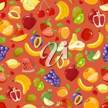Scattered fruits summer vector seamless pattern. Tropical food fresh illustration