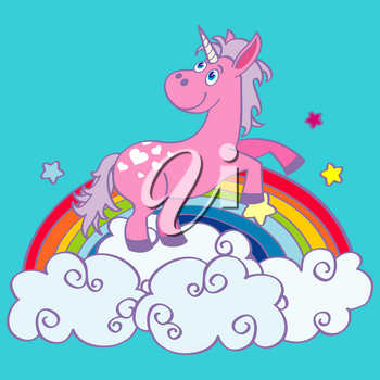 Vector hand drawn unicorn dancing on a rainbow. Fairy animal illustration