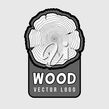 Annual tree growth rings, trunk cross section hipster vector log. Bark concentric cut design illustration