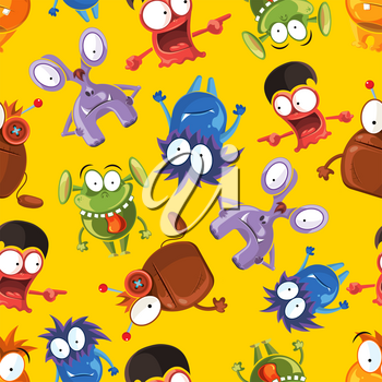 Vector seamless pattern with cute monsters. Funny monster characters on yellow background