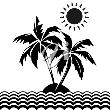 Palm trees and sun design elements. Tropical black silhouette tree. Vector illustration