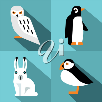 Polar animals in flat style with long shadow. Penguin and polar hare. Vector illustration
