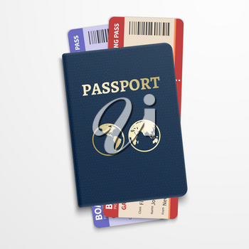 Passport with airline tickets. International tourism travelling concept. Personal document passport with ticket flight, illustration passport for travel