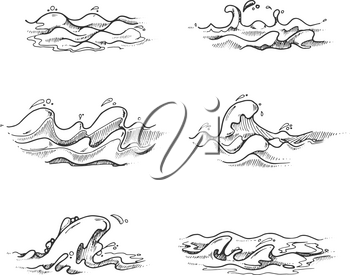 Sea and ocean waves, water splashes in vector hand drawn, sketch, doodle style. Drawing sea storm wavy motion illustration