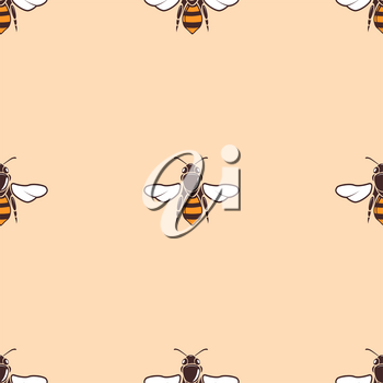Bees vector seamless background in beige. Abstract art design illustration