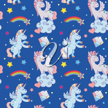 Cute unicorns, clouds, rainbow magic wand. Vector seamless pattern background for holiday birthday illustration