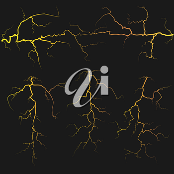 Vector yellow lightnings over black background. Electricity element weather illustration