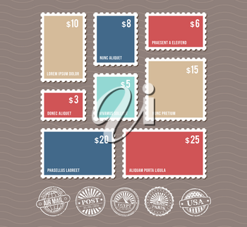 Blank postage stamps in different sizes and vintage postmarks vector. Set of color stamps with price, illustration of rectangular stamp