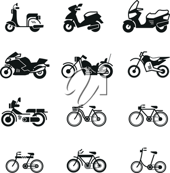 Motorcycle, motorbike, scooter, chopper and bicycle vector silhouette icons. Speed motorcycle and scooter illustration of bicycle and motorbike