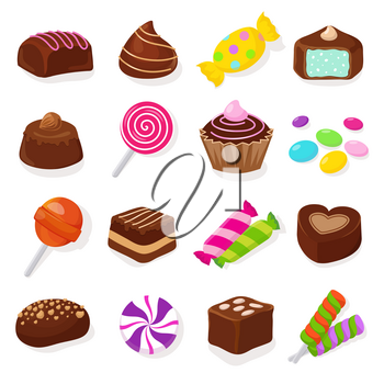 Cartoon black chocolate sweet candies and lollipops vector set. Sweet dessert food, chocolate and candy illustration