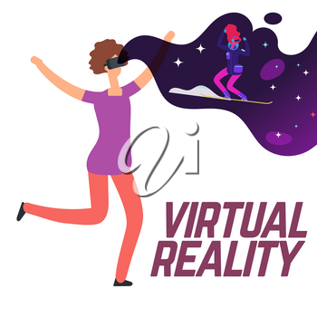Girl skiing with virtual reality glasses vector concept. Girl with vr gadget, headset glasses illustration