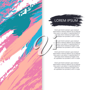 Bright abstract grunge poster or banner vector design. Poster with bright colored paint splash, watercolor stain colorful illustration