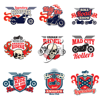 Motorcycle speed racing retro painting vector bagges and motorbike emblems. Motorcycle drive race, illustration of chopper motorbike illustration