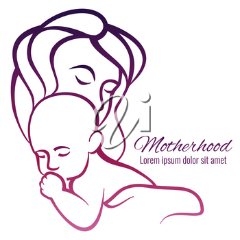 Mom and baby colorful silhouette - motherhood emblem. Vector illustration