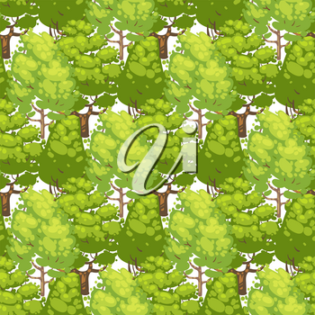 Forest seamless pattern design - green eco texture with trees. Abstract green trees background, vector illustration