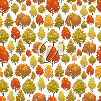 Colorful autumn forest seamless pattern design. Background with trees. Vector illustration
