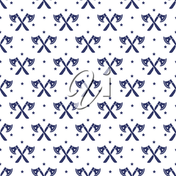 Stars and axes cross pon white seamless pattern background. Vector illustration