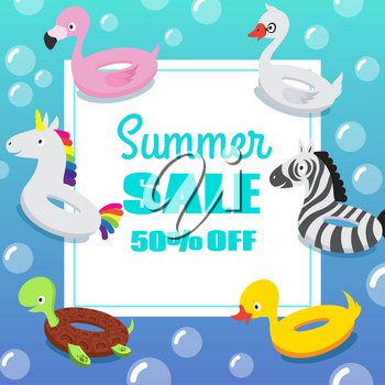Kids swimming pool party invitation poster with inflatable animal rubber swim float rings. Vector summer sale background