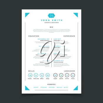 Cv template. Professional resume design with business details. Curriculum and best work resume vector mockup. Illustration of interview candidate, education skill and language, experience and hobby