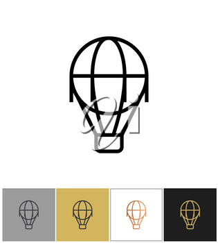 Air balloon icon, vintage airship sign on white and black backgrounds. Vector illustration