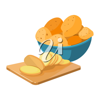 Cartoon potato bowl and cutting board with potato slices vector isolated on white background illustration