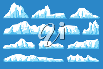 Cartoon floating iceberg vector set. Ocean ice rocks landscape for climate and environment protection concept. Iceberg cold, nature winter glacier illustration