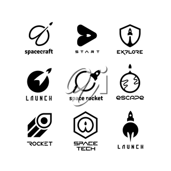 Rockets, launching shuttles, space travelling, spaceship and start-up vector logos isolated. Rocket and spaceship, shuttle ship logo illustration