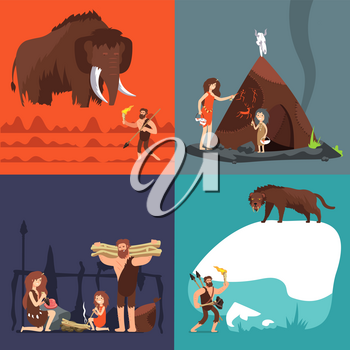Stone age concepts. Prehistoric ancient human and tools. Primitive man in cave vector cartoon set. Illustration of prehistoric primitive caveman, ancient spear, hunting neanderthal