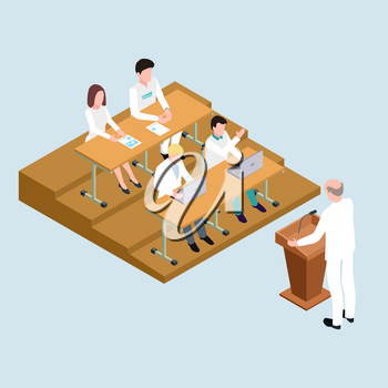 Medical school students and proffessor isometric vector illustration. Medical school lesson, student education