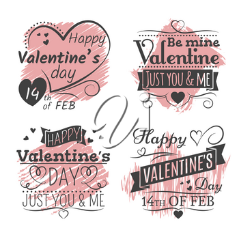 Valentines day banners and poster on grunge colorful background. Vector illustration
