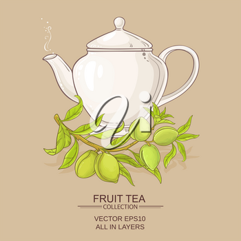 almond tea vector illustration on color background
