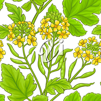 mustard plant vector pattern on white background