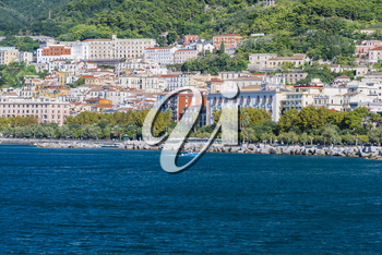 SALERNO, ITALY - September 29, 2015: Picturesque views of the marina from the sea in Salerno, Italy.