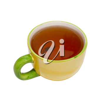 Teacup with tea isolated on white.