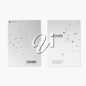 Vector brochure templates. Abstract connection background with lines and dots.