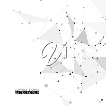 Abstract science background with connected dots and lines, molecular artificial neural network concept vector illustration.