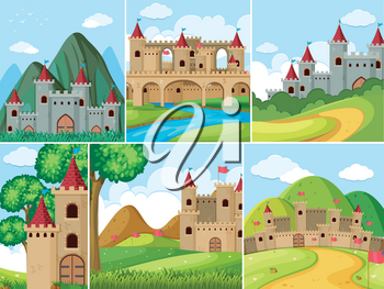 Scenes with castle towers in the mountains illustration