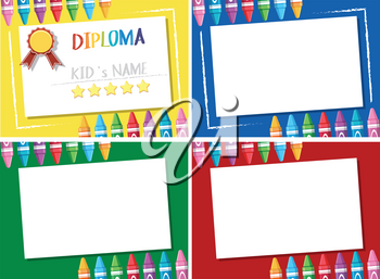 Diploma and four different background templates illustration