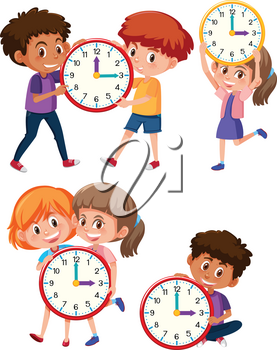 Children and time on white background illustration