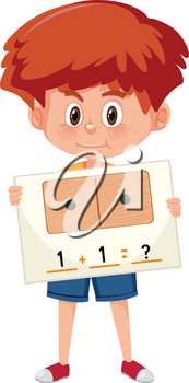 A boy holding math question card illustration