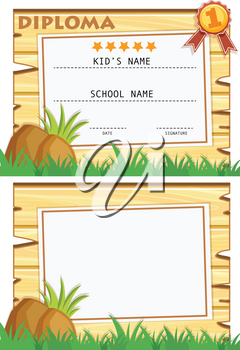 Diploma template with wooden board on grass illustration