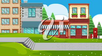 An outdoor scene with shops illustration