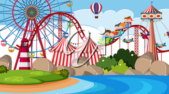 An outdoor scene with circus illustration