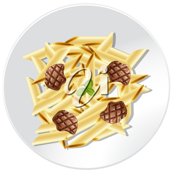 Penne Pasta with Beef Sauce illustration