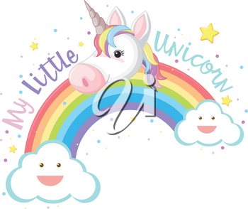 My Little Unicorn and Rainbow illustration