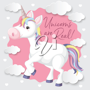 A Colourful Unicorn with Cloud Background illustration